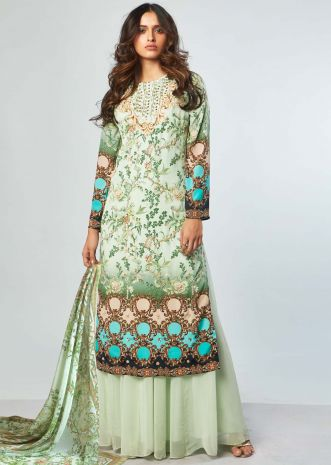 Multi color floral printed embroidered suit with georgette palazzo and printed dupatta