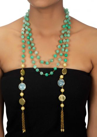 Multi layer sea green necklace enhanced with pearl and semi precious stone