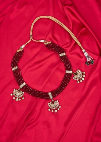 Multi string maroon traditional necklace with kundan pendant