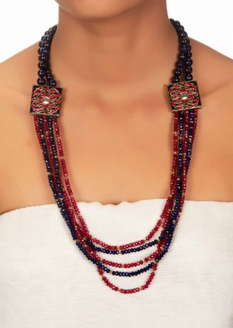 Multiple layer bead necklace in meenakari and kundan stone work