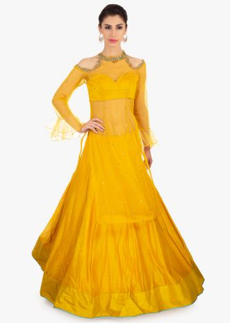 Mustard cotton skirt in kali with long net top