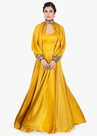 Mustard satin strap gown with additional top layer