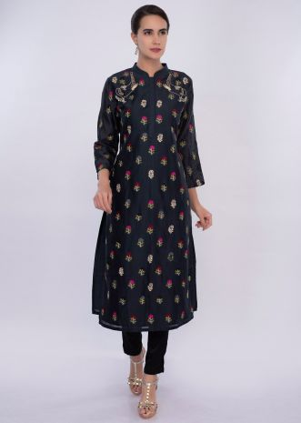Navy blue cotton kurti in multi color floral butti only on Kalki