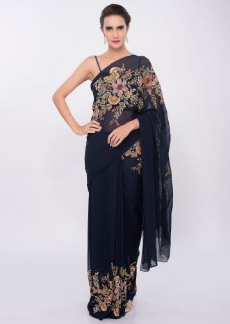 Navy blue georgette saree with sequins and cut dana floral embroidery only on Kalki
