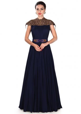 Navy blue gown adorn in cut work embroidered yoke only on Kalki