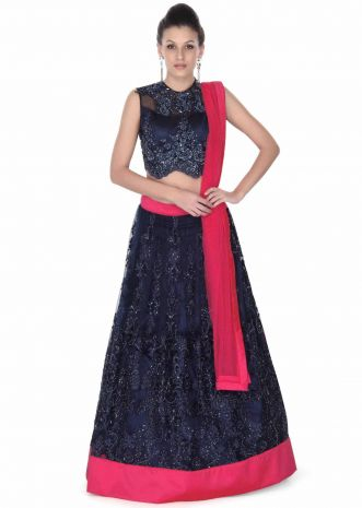 Navy blue lehenga adorn in resham and moti embroidery only on Kalki
