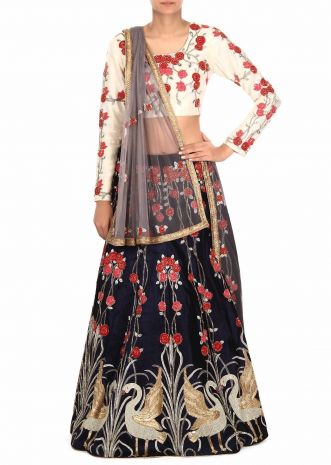 Navy blue lehenga in resham and kardana work only on Kalki