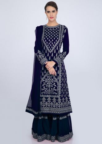 Navy blue sharara suit set with embroidery and butti only on Kalki