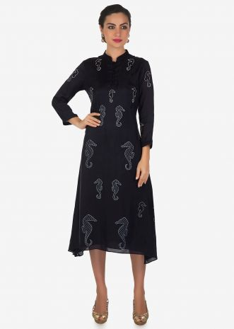 Navy blue A line kurti with sea horse motif print in white only on Kalki
