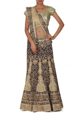 Navy blue semi stitched lehenga in zardosi only on Kalki
