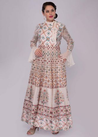 Off white cotton tunic dress with ikkat print and abla work