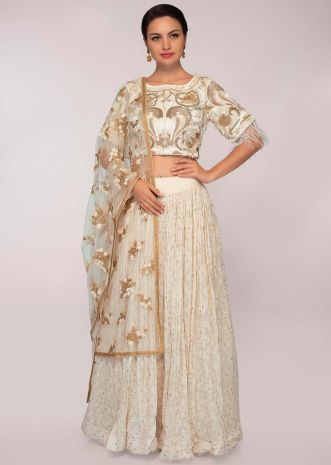 Off white embroidered crop top paired with georgette skirt and net dupatta