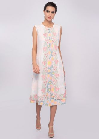 Off white multi color floral printed tunic dress with matching cotton jacket only on Kalki