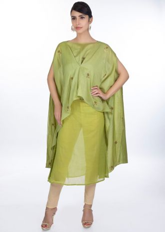 Olive green kurti  paired with a fancy kaftan stitched from the center