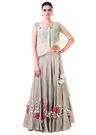 One Shoulder Cape Style Blouse And Embroidered Lehenga