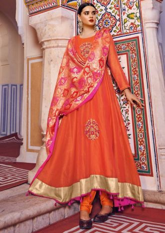 Orange anarkali suit with asymmetric hemline only on Kalki