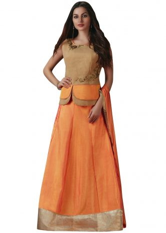 Orange and cream lehenga choli with cut dana and fancy button