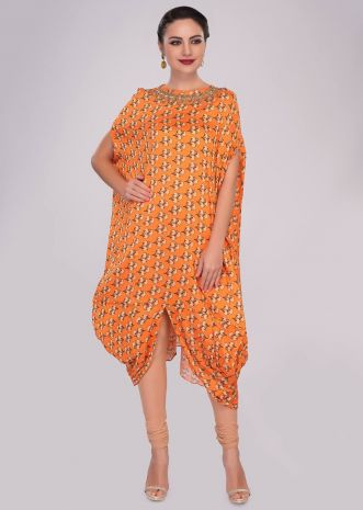 Orange fancy cotton tunic with floral printed butti