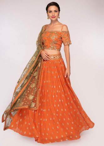 Orange georgette lehenga set with sequins and zari embroidery and butti