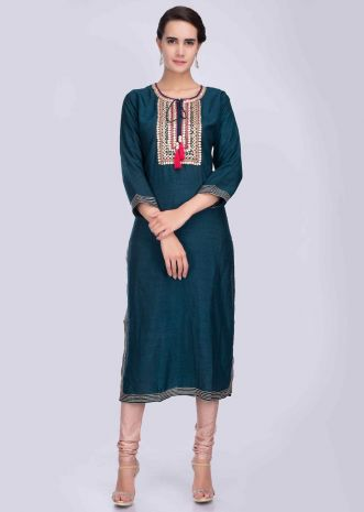 df1eacf9152b4 Oxford blue straight silk kurti with embroidered placket with tassels only  on Kalki ...