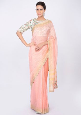 Pale pink linen saree with mint green floral embroidered blouse only on kalki