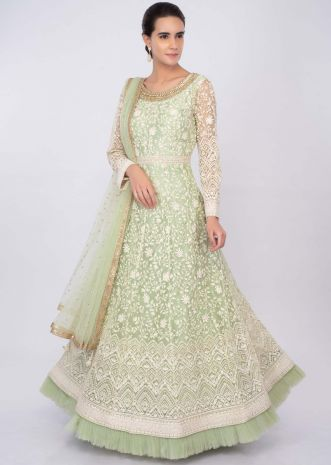Parrot green  net anarkali with thread jaal embroidery only on kalki