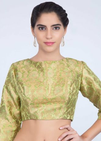 1dd08c91806bcf Parrot green round neck silk blouse with weaved butti only on kalki ...