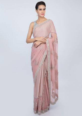 Pastel pink half and half saree in shimmer lycra and hard net with cord  butti only on kalki