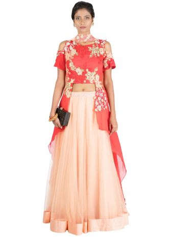 Peach & Red Cold Shoulder Heavy Lehenga Set