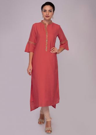 Peach cotton kurti with embroidered edges