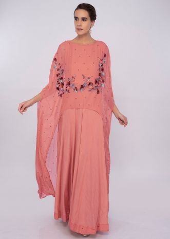 Peach cotton silk dress with additional front short back long top layer only on kalki