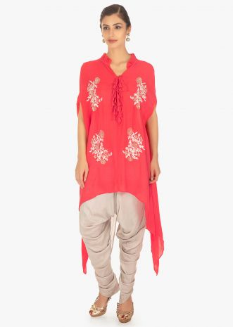 Peach cotton top matched with cloud grey silk dhoti pant
