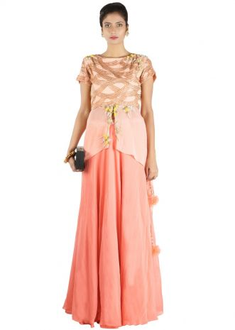 Peach Embellished Long Short Kurta And Lehenga Set