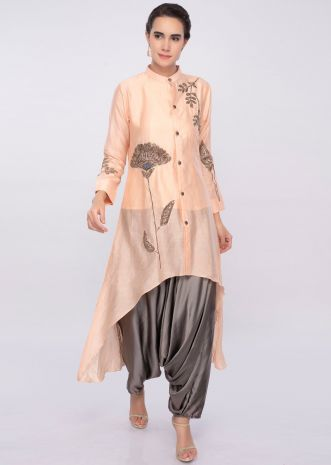 Peach front short back long top with graphite grey dhoti pant only on Kalki