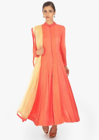 Peach georgette suit in lucknowi thread and abla work in alternate kali