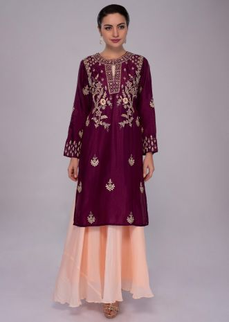 Peach georgette tunic dress with jam purple embroidered top layer