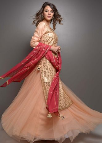 Peach gotta jaal suit with net skirt and red chiffon dupatta