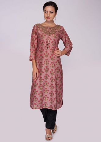 Peach long cotton silk kurti with floral printed butti