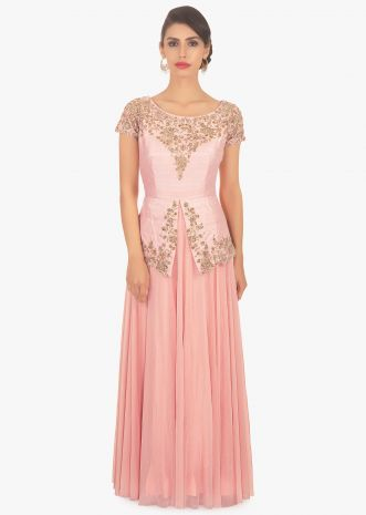 Peach long dress with pink bodice in peplum style