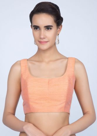 b6ccf72ab389e Peach raw silk blouse with golden piping only on Kalki ...