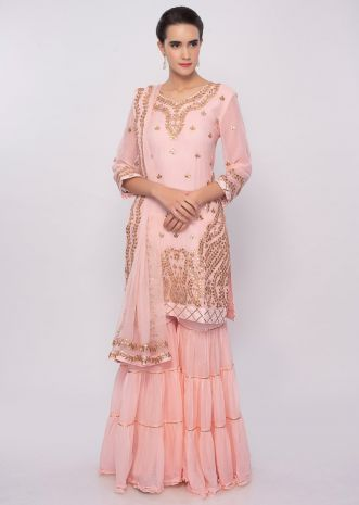 Peach sharara suit set with gotta patch embroidery only on Kalki