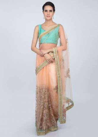 Peach sheer net saree with in floral embroidery and butti only on kalki