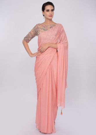 Peach shimmer lycra saree with beige blouse in resham embroidery only on Kalki