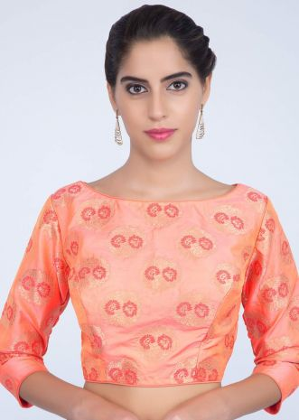 d2b8521381ac2f Peach silk blouse with floral weaved butti only on kalki ...