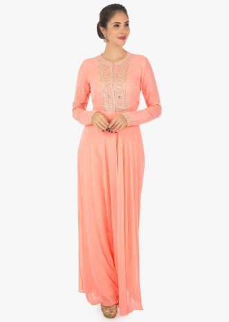 Peach silk kurti featuring in georgette with santoon pants only on Kalki