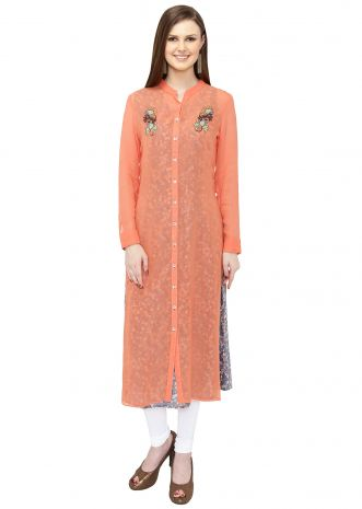 Peach Blue Georgette Kurta Featuring Printed Floral Motifs and Resham Work only on Kalki