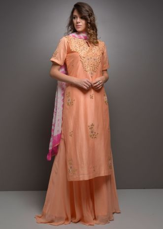 Peach embroidered suit with matching palazzo and dyed dupatta