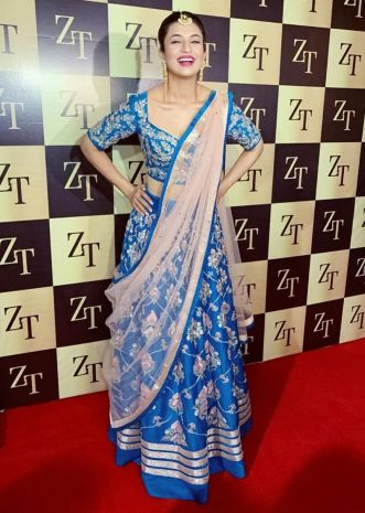 Lapis blue raw silk lehenga set paired with pink net dupatta