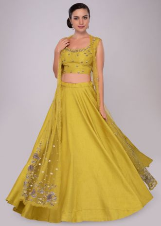 Pine yellow raw silk lehenga set with embroidered net jacket