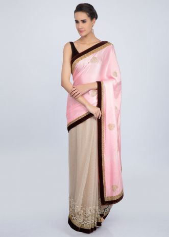 Pink and beige half and half saree featuring in satin and net only on Kalki